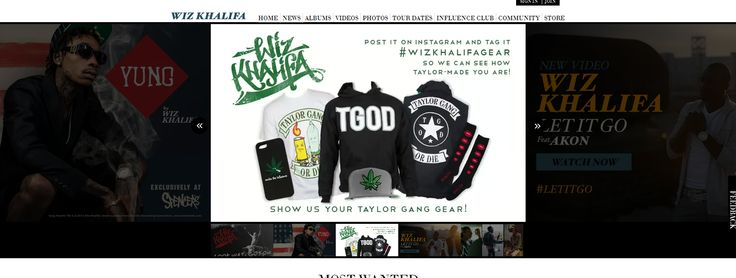 Wiz Khalifa has his own website where his fans can buy his merchandise, updates about him, upcoming shows and how to purchase his album. On the contact page of his website, people can see Wiz's different social media links. #MRK634 #WizKhalifa #Socialinfluence