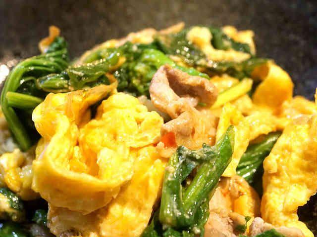 超簡単!菜の花と豚肉のウマウマ中華卵炒めの画像