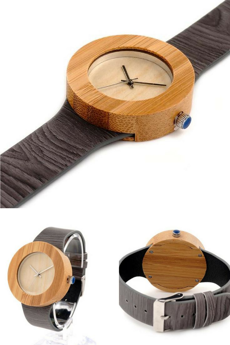 THE CAMELLIA | WOODEN WATCH  An earthy, bold round bamboo faceplate pops off a playful grayscale leather band in this fashion forward wooden watch. Ladies this piece encompasses the essence of a woman: sexy & smart! Dress it up for a night on the town or boho it out when you just want to hang. No matter where you go, you'll want our most stylish watch with you!