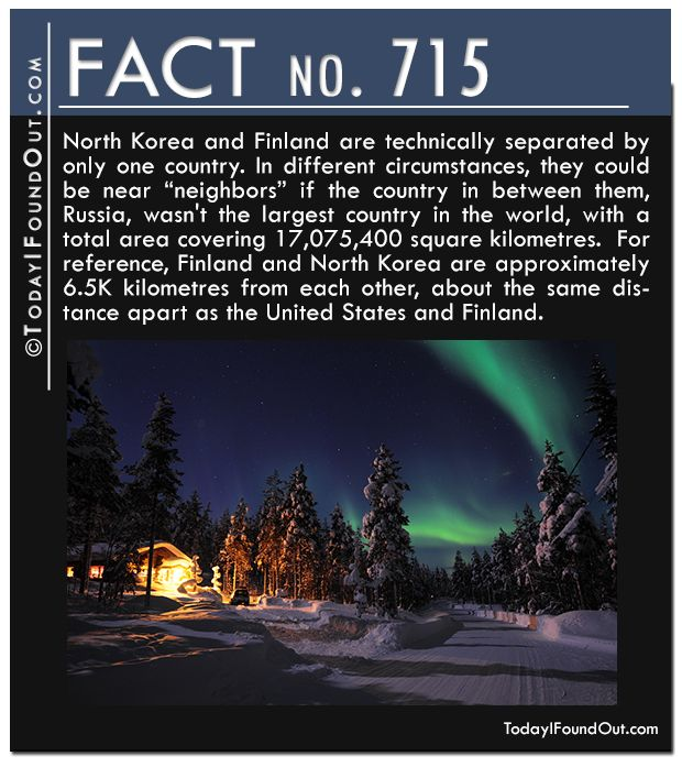 """North Korea and Finland are technically separated by only one country. In different circumstances, they could be near """"neighbors"""" if the country in between them, Russia, wasn't the largest country in the world, with a total area covering 17,075,400 square kilometres. For reference, Finland and North Korea are approximately 6.5K kilometres from each other, about the same distance apart as the United States and Finland."""