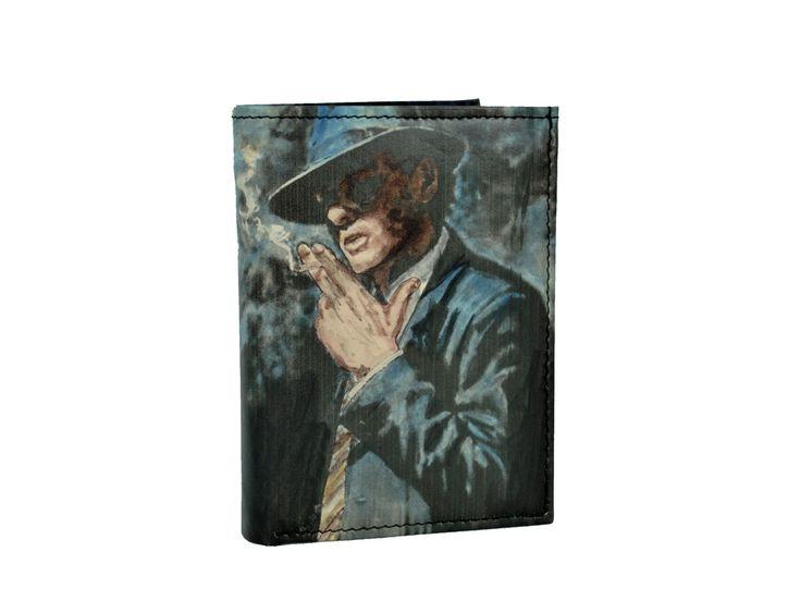 Ručne maľovaná peňaženka 8560 s motívom Muž s cigaretou | Luxusné a módne šperky, doplnky, ozdoby, darčeky