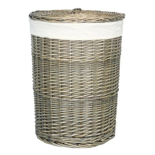 Round Lining Wicker Laundry Bin Wicker Woven Laundry Basket