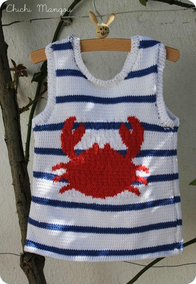 tricot, débardeur, crabe