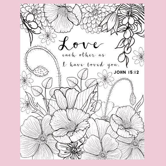 John 1512 Coloring Page Love Valentine Adult