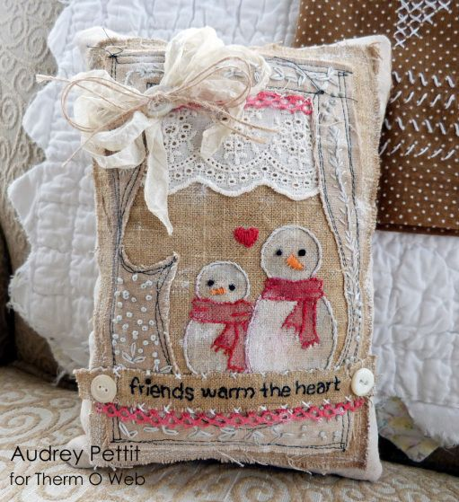 Snowman Pillow Shabby Chic... link for the pattern: http://thermoweb.com/blog/snowman-pillow ...