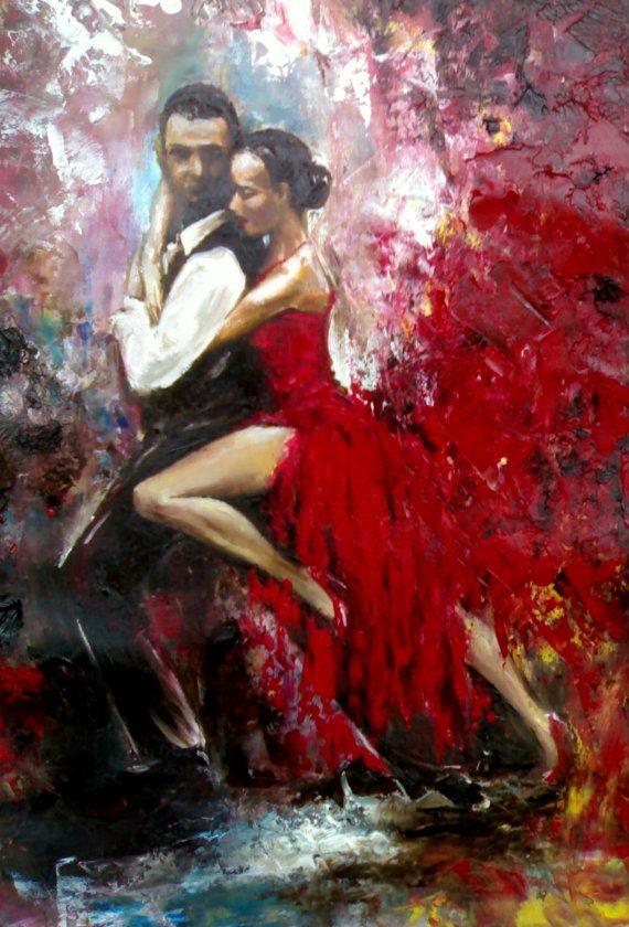 Pittura a olio originale - Tango Dancers - Red Passion Dance - amore coppia danza - spatola - tela contemporanea arte - - grandi dimensioni