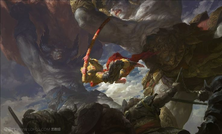 Two Demon King vs Monkey King, Fenghua  Zhong on ArtStation at https://www.artstation.com/artwork/two-demon-king-vs-monkey-king