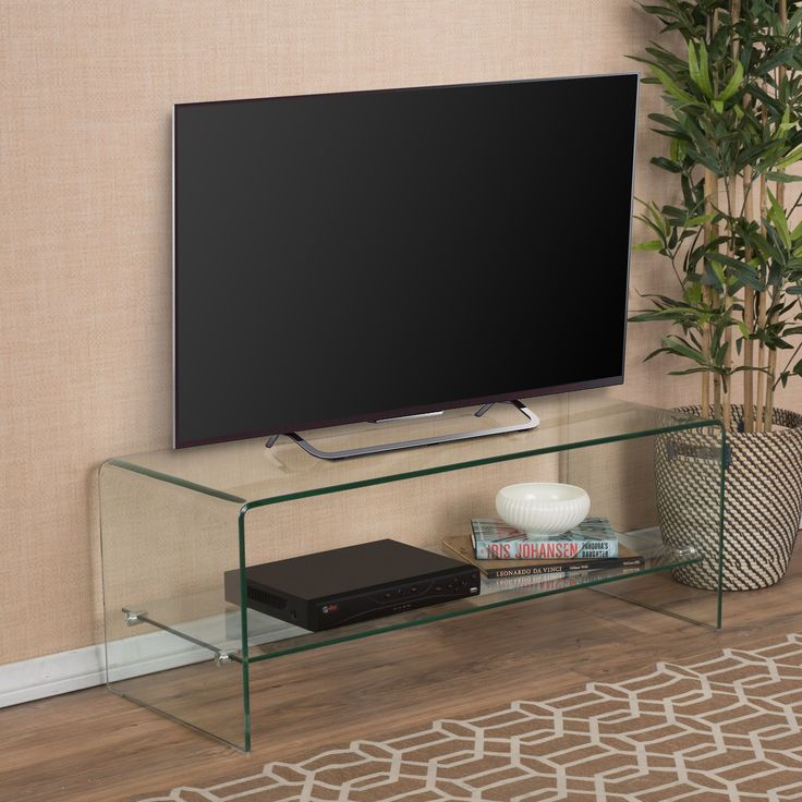Ramona Glass Entertainment TV Console Stand with Shelf by Christopher Knight Home (Transparent), Clear