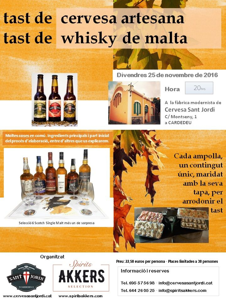 Cata de Cerveza artesana y Whisky de malta con Maridaje en Sant Jordi - Spirits Akkers Selection, S.L. http://www.spiritsakkers.com/eventos/cata-de-cerveza-artesana-y-whisky-de-malta-con-maridaje-en-sant-jordi.html