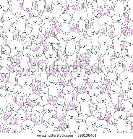 Rabbits funny cartoon seamless pattern