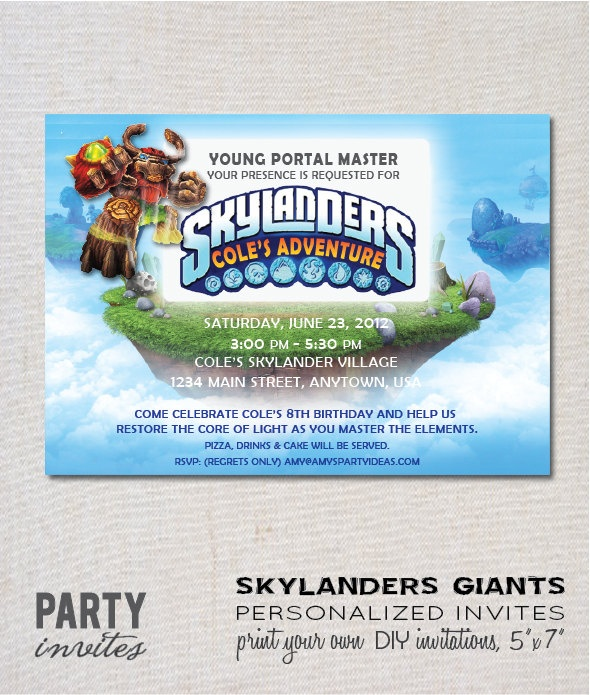 Skylanders GIANTS Personalized Birthday Party by partyinvites, $10.00