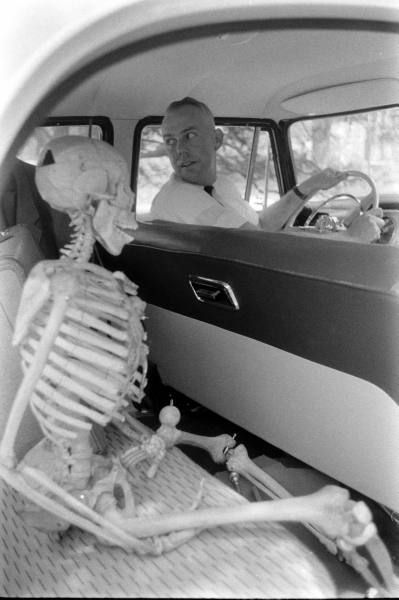 Transporting a skeleton to Wake Forest University campus, Winston-Salem, North Carolina, 1956. Phot by Hank Walker.