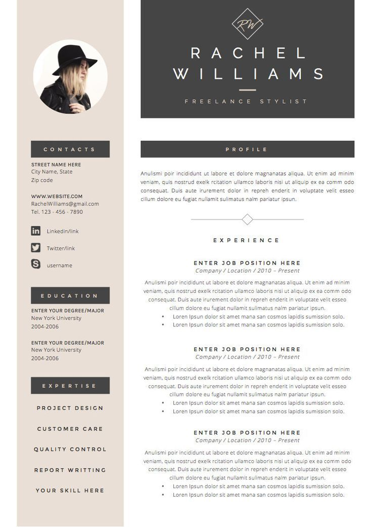 3page Resume / CV Template Cover Letter for by TheResumeBoutique