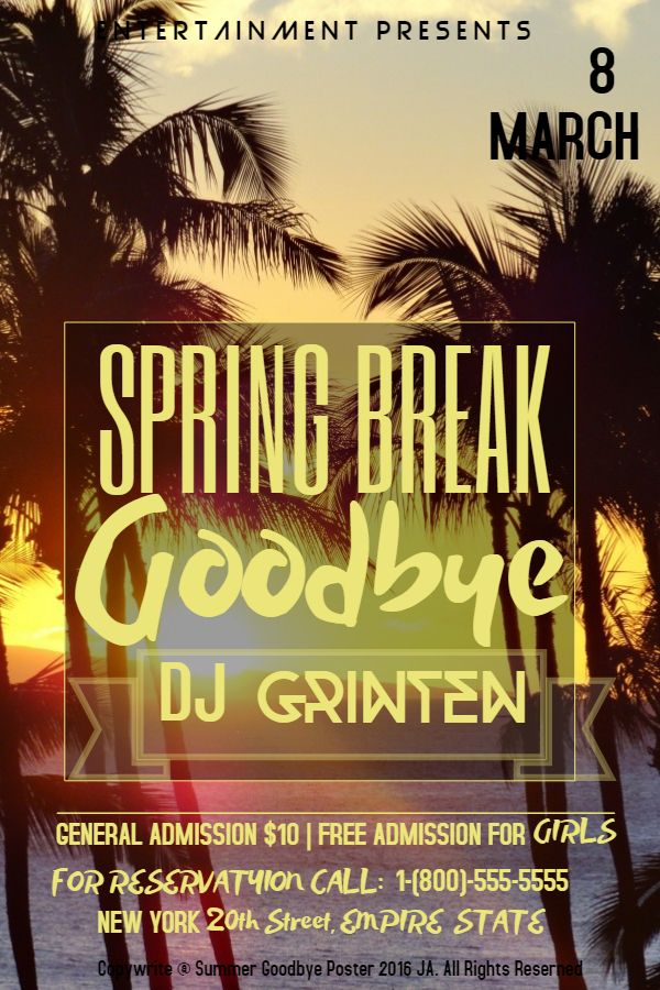 Best Spring Break Poster Templates Images On   Online