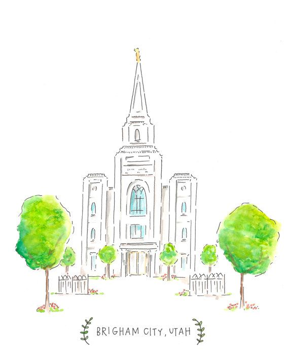 Brigham City Temple - LDS Temple Panting - Watercolor and Ink - Brigham City Utah