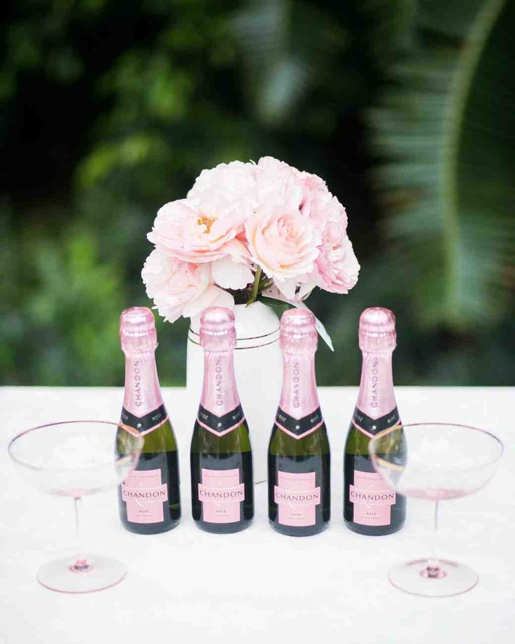 The Essential Elements of a Bridal Shower Dessert Bar   Martha Stewart Weddings - Start your party off with a pretty-in-pink buzz by serving mini bottles of rosé champagne to your guests as they enter the door.