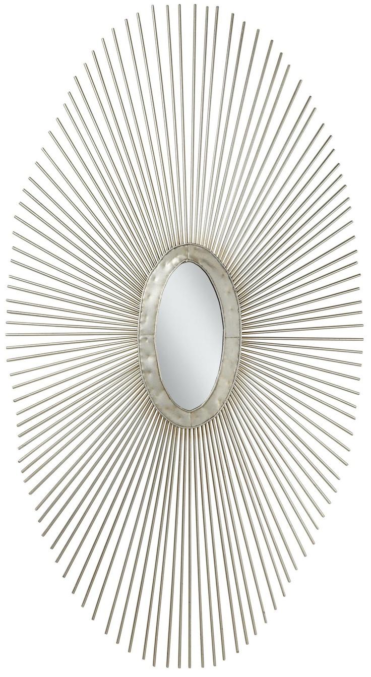Wire capiz sunburst wall mirror - Silver Sun Ray 37 High Oval Metal Wall Art 79