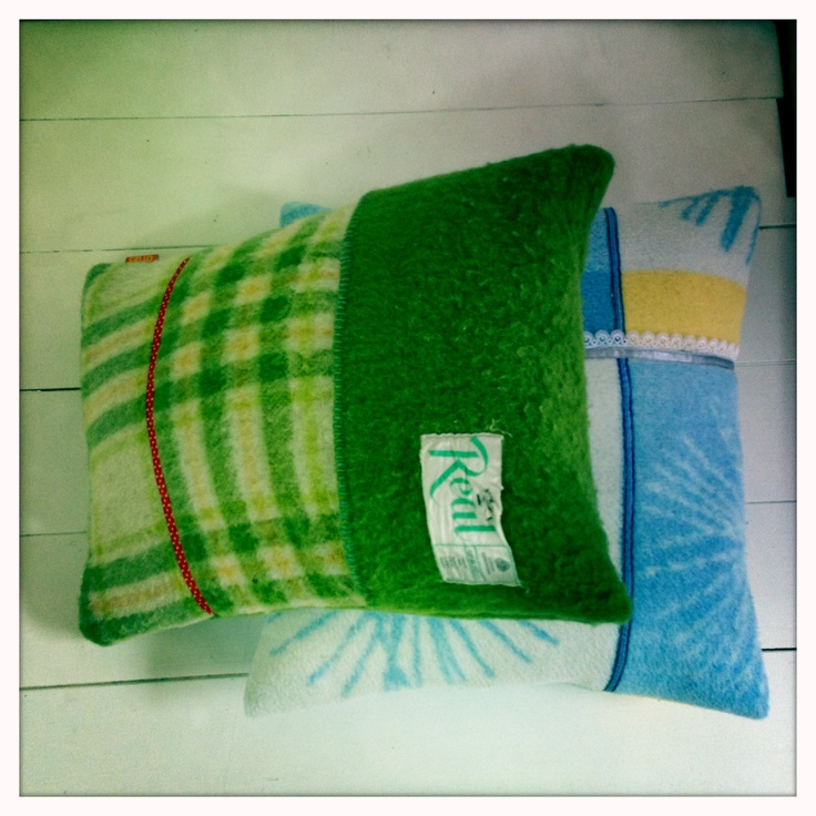 Pillow made of old blankets by Otties