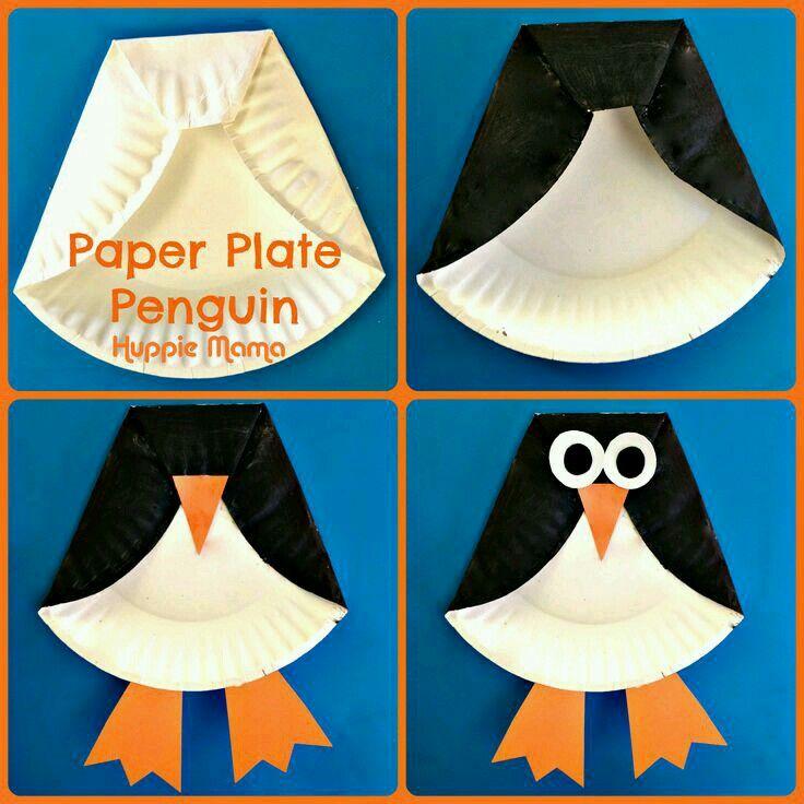 Paper plate penguins