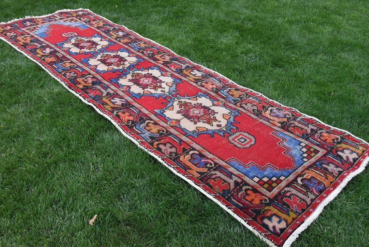 Oushak runner rug vintage hand knotted turkish by VinArtStore