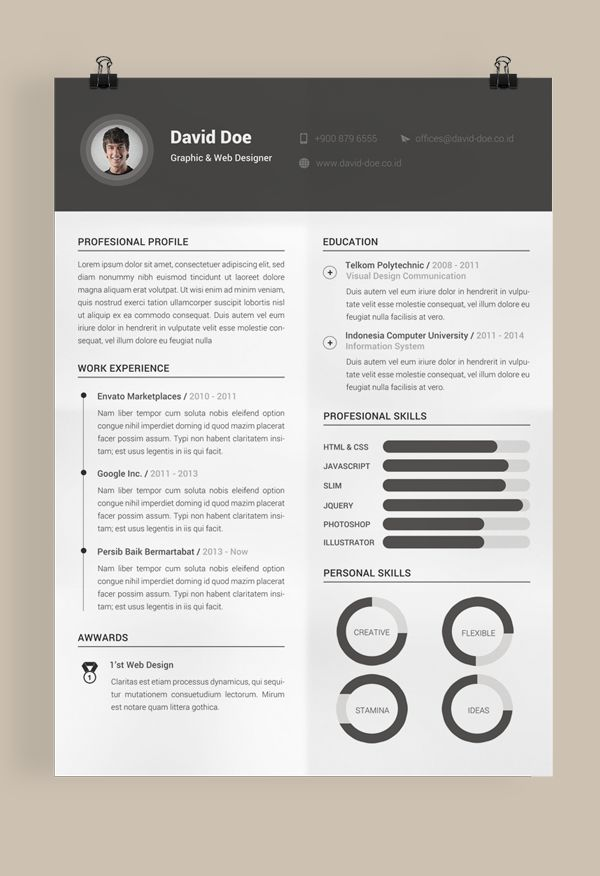 the best resume templates free download ideas on - One Page Resume Template Free