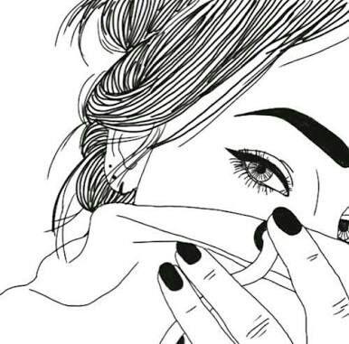 Ilustración de chica cubriendo su cara.