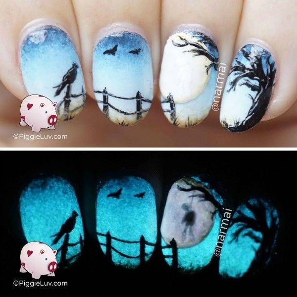 18 Scary, Cool and Clever Halloween-Inspired Manicures ❤ liked on Polyvore featuring beauty products and nail care