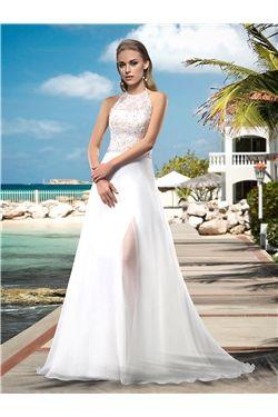 Garden/Outdoor Floor-Length Beading Halter Summer Appliques Simple & Casual All Sizes Wedding Dress