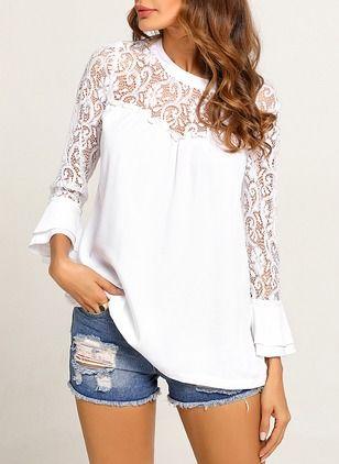 63335e0d48b29c Solid Casual Cotton Round Neckline Long Sleeve Blouses - Floryday   floryday .com