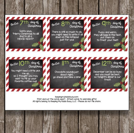 12 Days Of Christmas Teacher Cards Printable Diy Gift Etsy Teacher Christmas Christmas Cards Free Diy Gifts Etsy