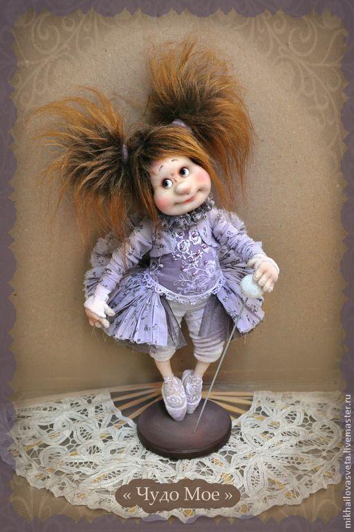Купить Чудо Мое - балерина, принцесса, интерьерная кукла, коллекционная кукла, подарок, фиолетовый, текстиль