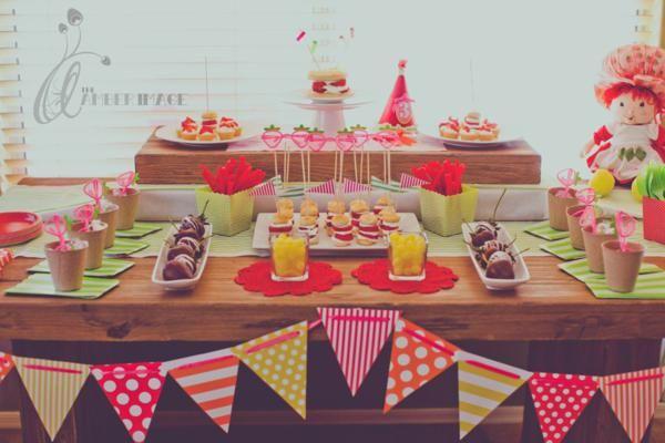 Strawberry Shortcake party: love the mini strawberry shortcake skewer stacks!