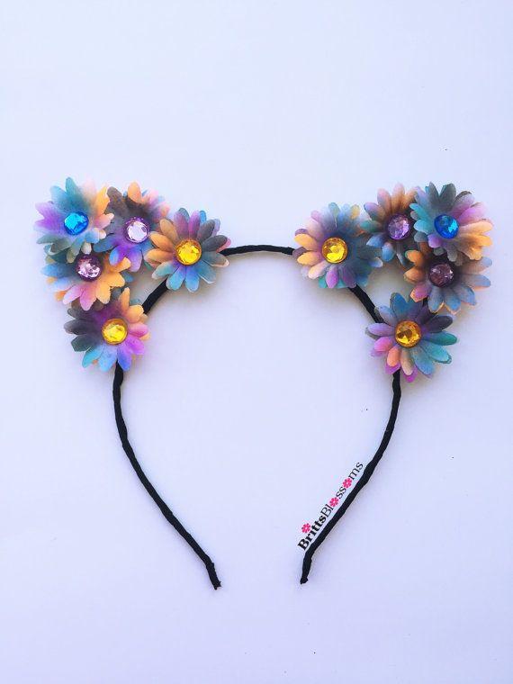 Kitty ears, cat ears, tie dye, coachella, edc, edclv, electric daisy carnival, electric forest, ultra music festival, tomorrowland