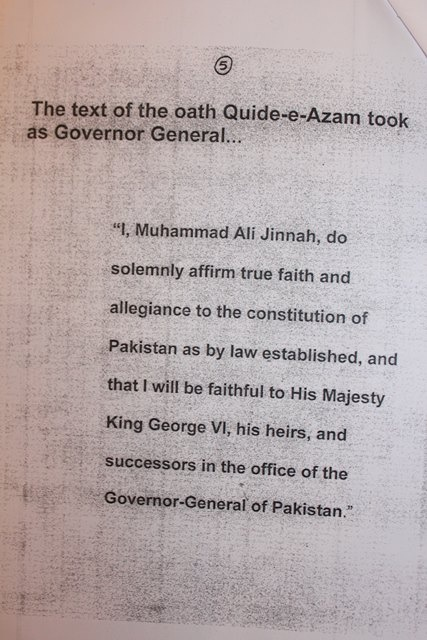 """I  Muhammad Ali Jinnah, do solemnly affirm true faith and allegiance to  the constitution of Pakistan as by law established, and that I will be  faithful to His Majesty King George VI, his heirs, and successors in the  office of the Governor-General of Pakistan""."