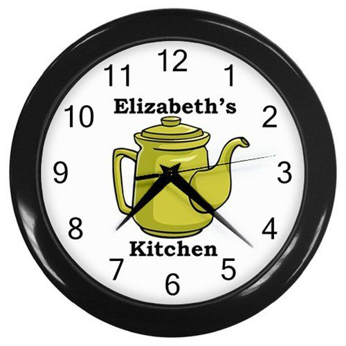 Personalized+Green+Teapot+Kitchen+Wall+Clock