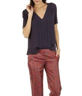 SOLDES - E-boutique Pantalon Large Imprimé En Soie Adam Rouge Ba & Sh femme | Place des Tendances