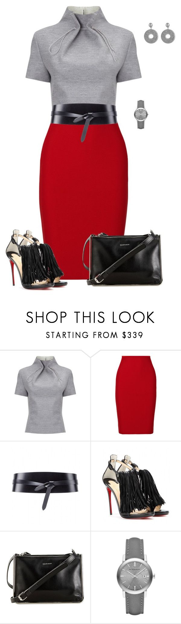 """Untitled #603"" by angela-vitello on Polyvore featuring J. JS Lee, Roland Mouret, Isabel Marant, Christian Louboutin, Carven, Burberry and Karen Kane"