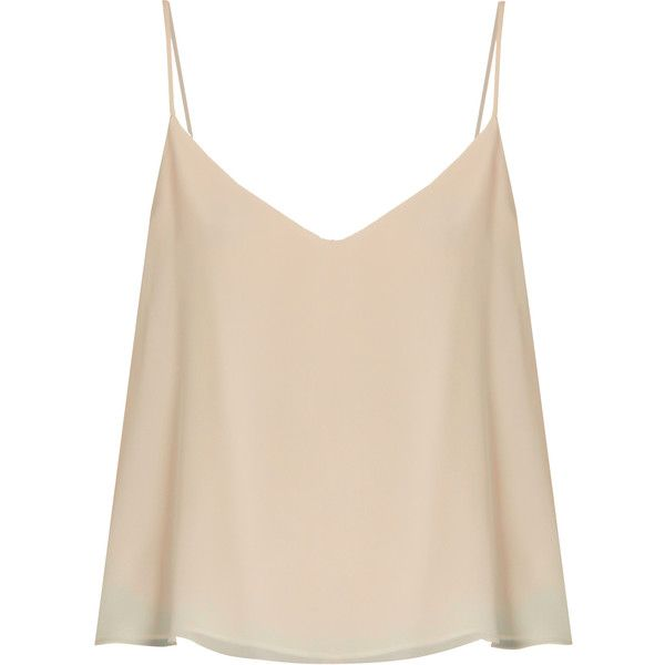 Raey Deep V-neck silk cami top ($125) ❤ liked on Polyvore featuring tops, shirts, nude, pink tank top, v neck tank, silk cami, v-neck tank and silk tank tops