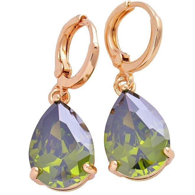 9K Yellow gold-filled, teardrop hoop earrings with green CZ, 30mm x 10mm @ AUD$13.00