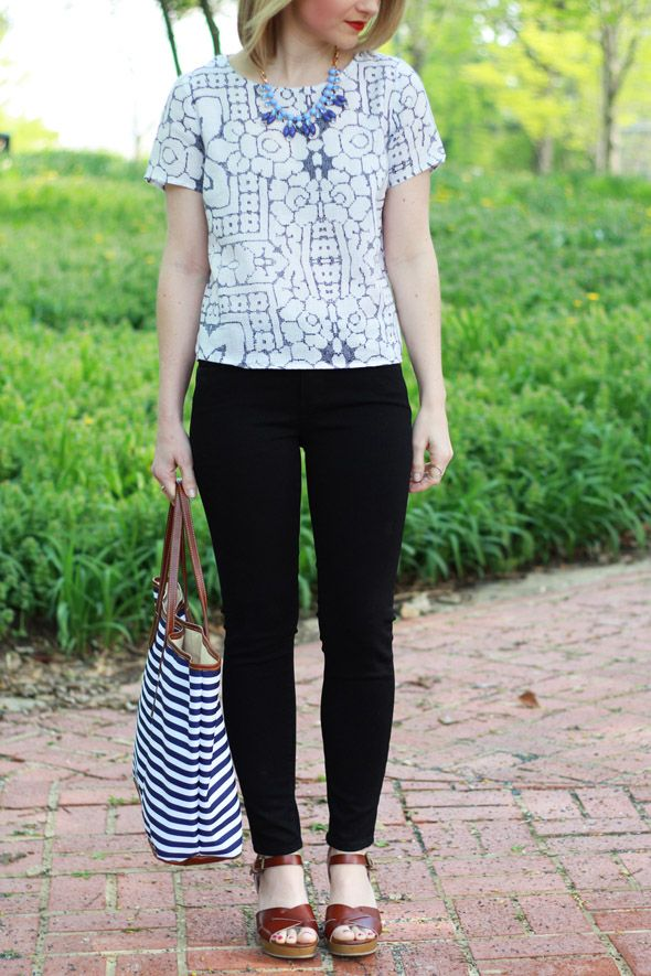 Poor Little It Girl - Paige Denim Black Verdugo Crop Jeans, Barrington Gifts Striped Tote, Baublebar Blue Necklace, American Eagle Outfitters Tan Wedges