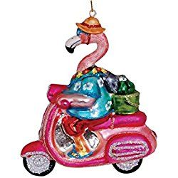 Flamingo on Pink Scooter Blown Glass Christmas Holiday Ornament Cape Shore