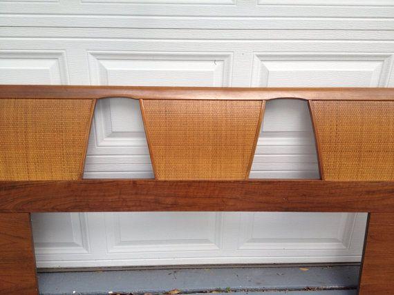 Vintage Mid Century Modern Headboard Wood and Rattan Cane King Size Headboard by Modern Logic on Etsy, $195.00