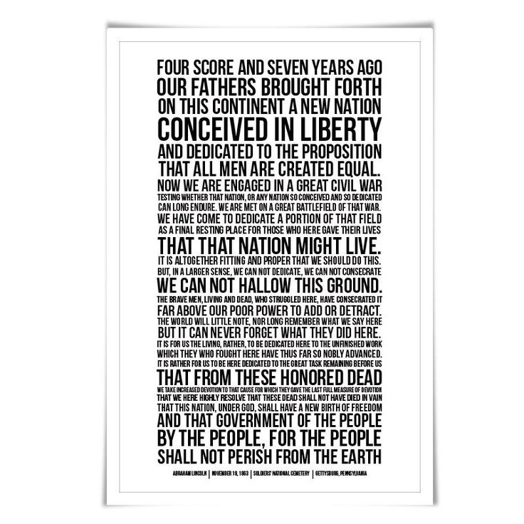 Abraham Lincoln Presidential Speech Gettysburg Address Art Print. 60 Colours/3 Sizes. American History Poster