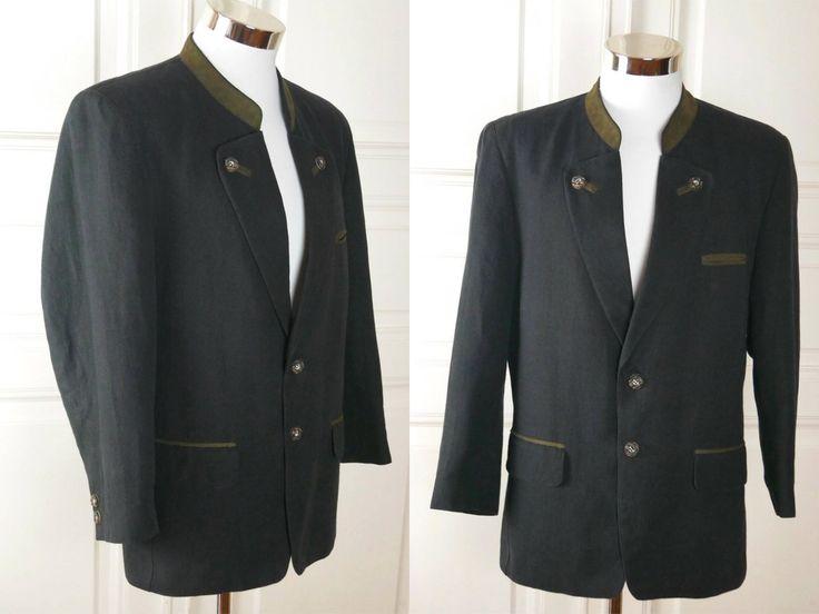 German Vintage Trachten Jacket, Charcoal Gray w Mossy Beige Trim Linen-Blend Traditional Bavarian Octoberfest Blazer: Size 36 Stocky (US/UK) by YouLookAmazing on Etsy