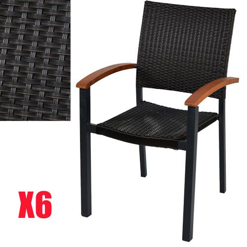 6 fauteuils BARCELONA en résine tressée et eucalyptus