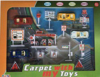 Набор дорожный с игр. ковриком - Купить наборы спецтехники, набор ферма, набор пожарная машина для детей по низким ценам - Интернет-магазин игрушек Головастик