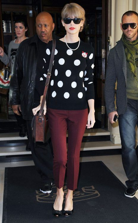 TAYLOR SWIFT  She's spot-on: The country-pop songstress leaves her London hotel en route to the BBC Radio 2 studios to promote her new album, Red.