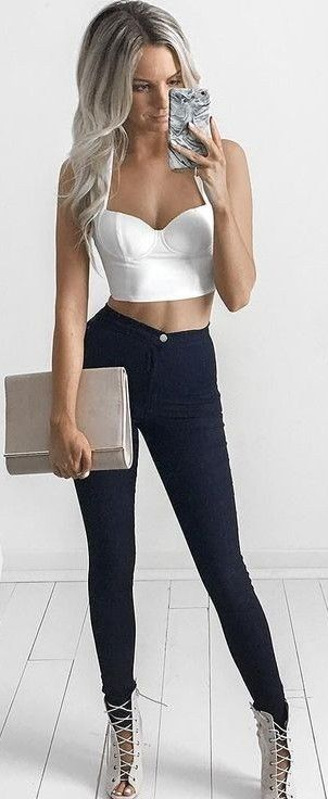 White Crop + Black Skinnies                                                                             Source