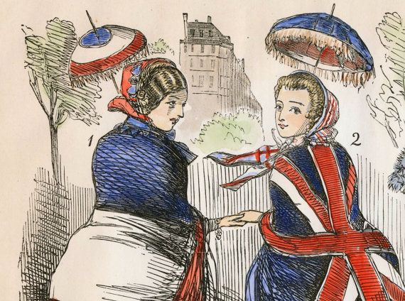 An antique wood engraving from Punch Magazine, called French Shawls for 1855, showing two ladies sporting the French Tricolour and the British Union Jack. Dated August 25, 1855 along the top margin. Hand coloured. SIze: approx. 8.5 x 10.5  This was apparently a commentary on the interchange of civilities between the French and English courts. A nice gift for someone who has an interest in European history or simply appreciates satirical art.  The full print is shown in the first photo. Other…