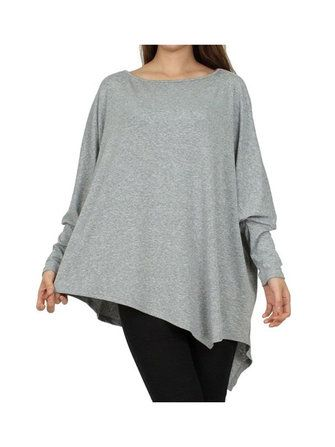 Women 5XL Long Batwing Sleeve T-Shirt Crew Neck Cotton Asymmetrical Hem Loose Blouse